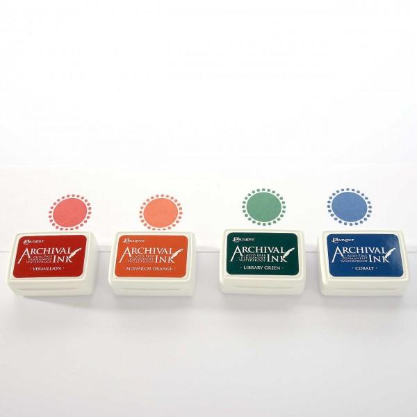 4 Mini-Stempelkissen - Set 1 Zinnoberrot, Orange, Dunkelgrün, Kobaltblau