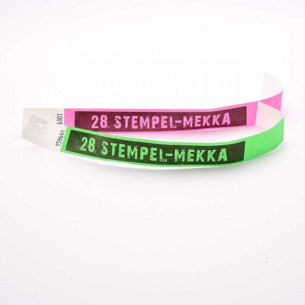 28. Stempel-Mekka 2019 Einlassbänder · Grün und Pink · für eine Person ab 12 Jahre