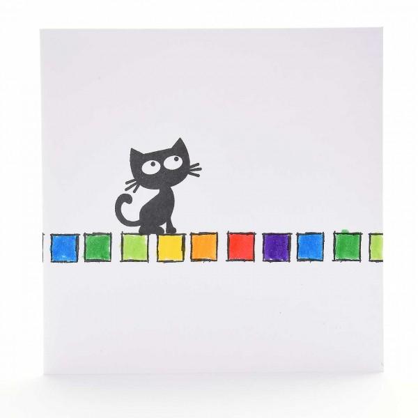 Die Katze und die Regenbogenfarben