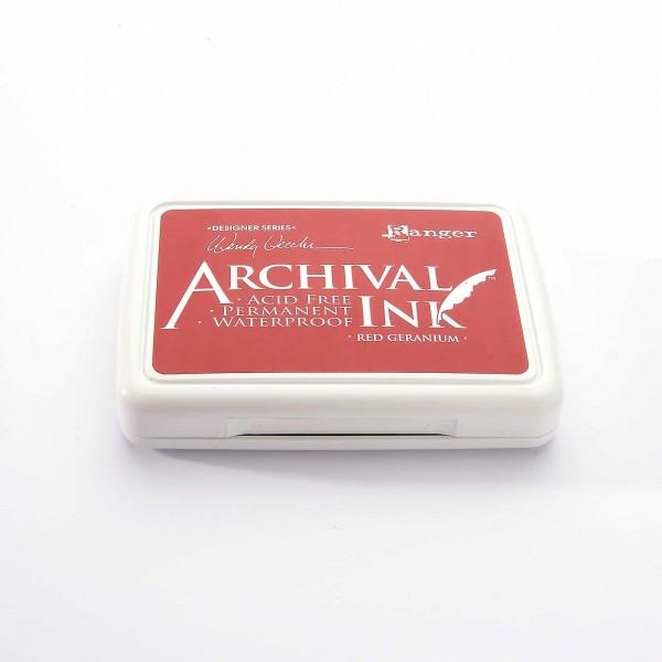 Ranger Archival Ink Stempelkissen - Red Geranium · rote Geranie