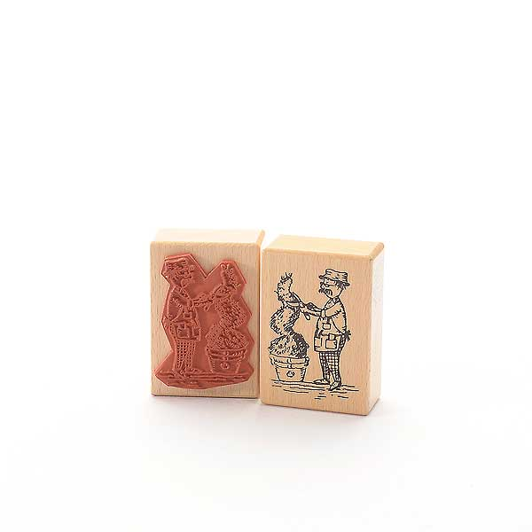 Motivstempel Titel: Tina - gubbe mit buxbom - Mann mit Buxbaum