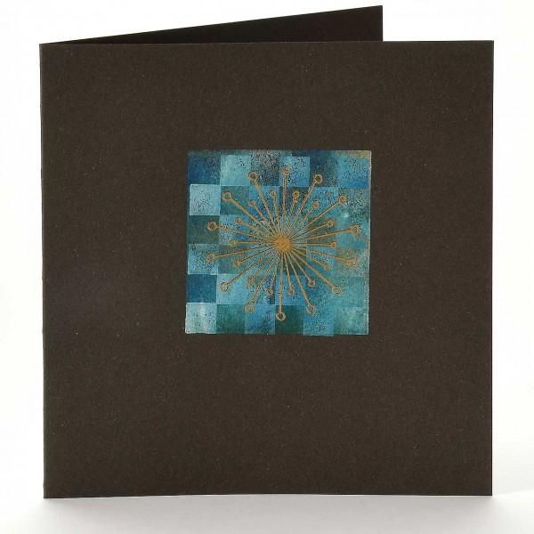 Vier Karten mit einmal Farbe I: Stern mit Schachbrett-Muster