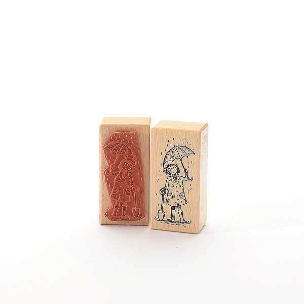 Motivstempel Titel: Tina - paraply gumma - Mädchen mit Schirm