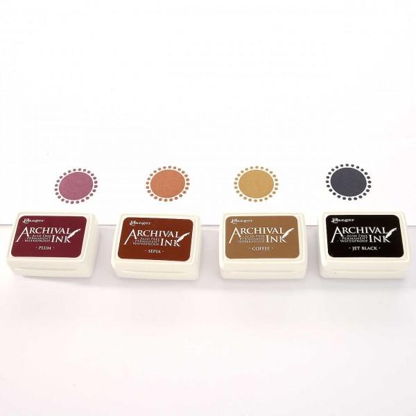 4 Mini-Stempelkissen - Set 2 Pflaume, Sepia, Milchkaffeebraun, Schwarz
