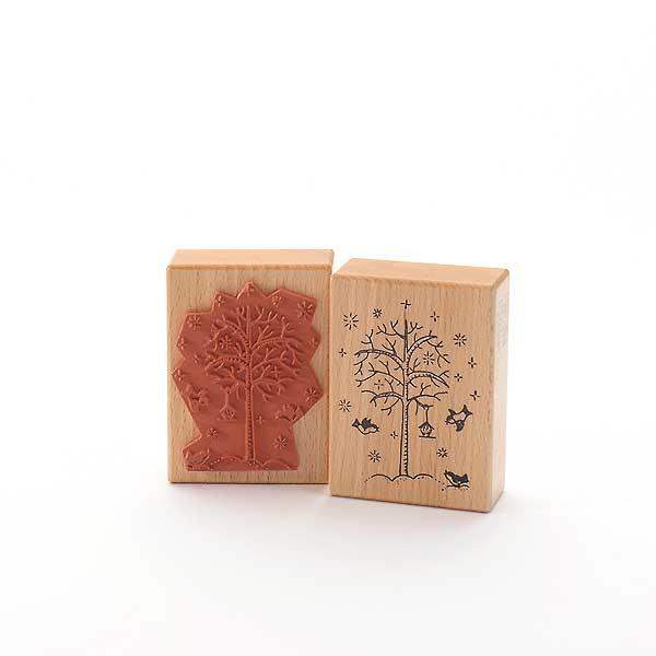 Motivstempel Titel: Tina - vintern träd med tre bröst · Winterbaum mit drei Meisen