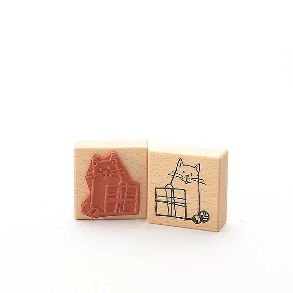 Motivstempel Titel: Katze mit Geschenk