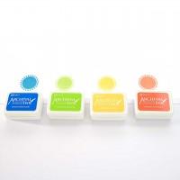 4 Mini-Stempelkissen - Set 3 Hellorange, Chromegelb, Gelbgrün, Manganblau